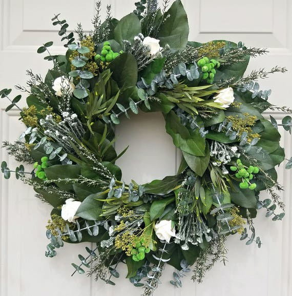 Preserved wreath, eucalyptus wreath, leaf wreath, fall wreath,  natural wreath, dried wreath, spring wreath