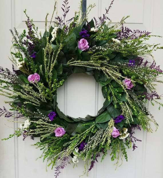 24 inch preserved foliage wreath, purple rose wreath, rose wreath, gift wreath, leaf wreath, preserved wreath, dried wreath