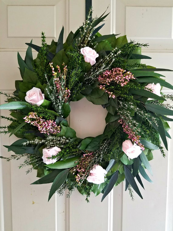 Reserved listing  Pink preserved rose wreath, foliage wreath, leaf wreath, gift wreath, indoor wreath, green wreath.  eucalyptus wreath