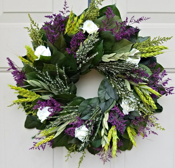 Purple wreath, Leaf wreath,  rose wreath, dried wreath, preserved wreath, elegant wreath, dried flower wreath, indoor wreath