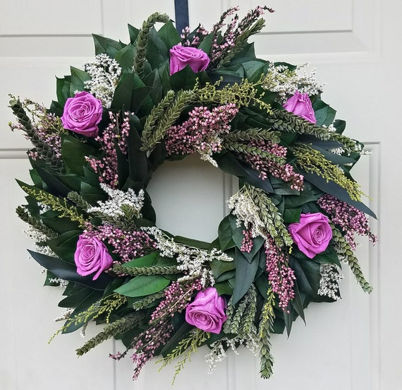 Pink preserved rose foliage wreath