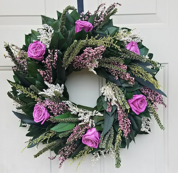 Preserved wreath made with pink preserved roses
