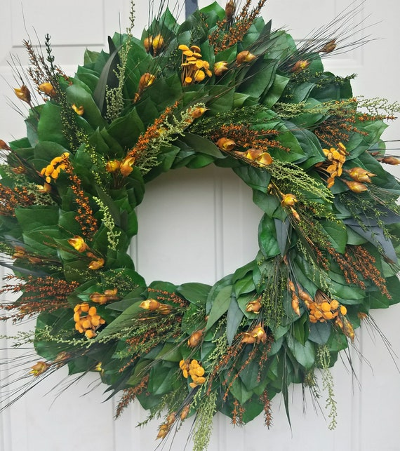 Flower wreath handmade with preserved salal leaves