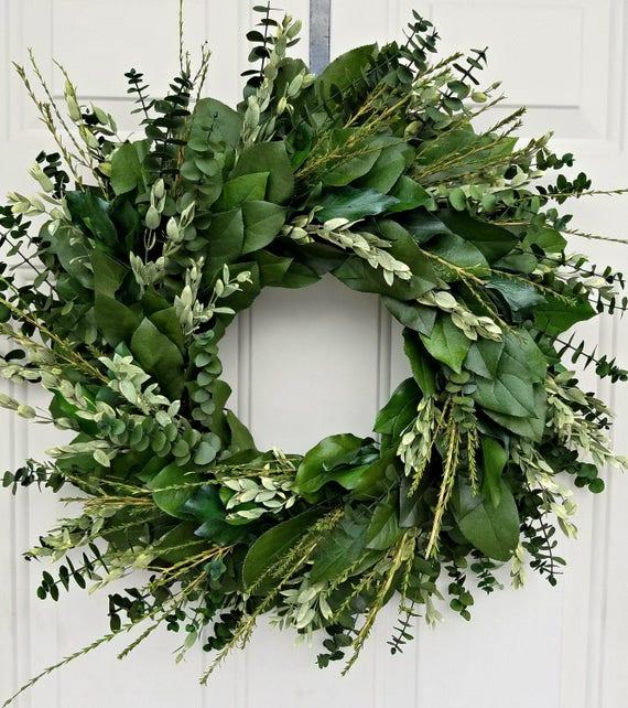 Custom sizes, preserved wreath, foliage wreath, leaf wreath, small wreath, indoor wreath, green wreath.  eucalyptus wreath, natural wreath