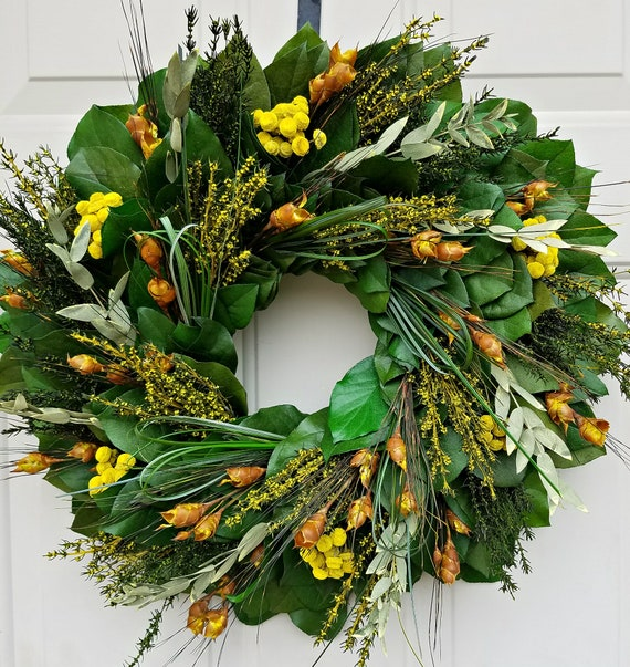 Yellow Flower wreath handmade with preserved salal leaves