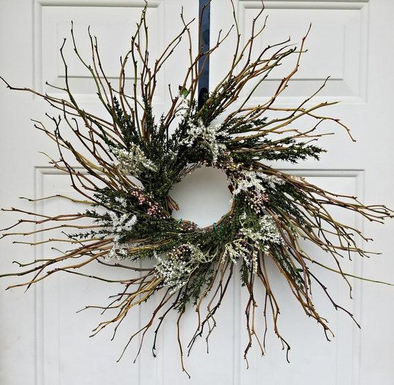 "twig wreath, 18 "" wreath, rustic wreath, country wreath, pink wreath, decorative wreath, natural wreath, dried wreath, small wreath"