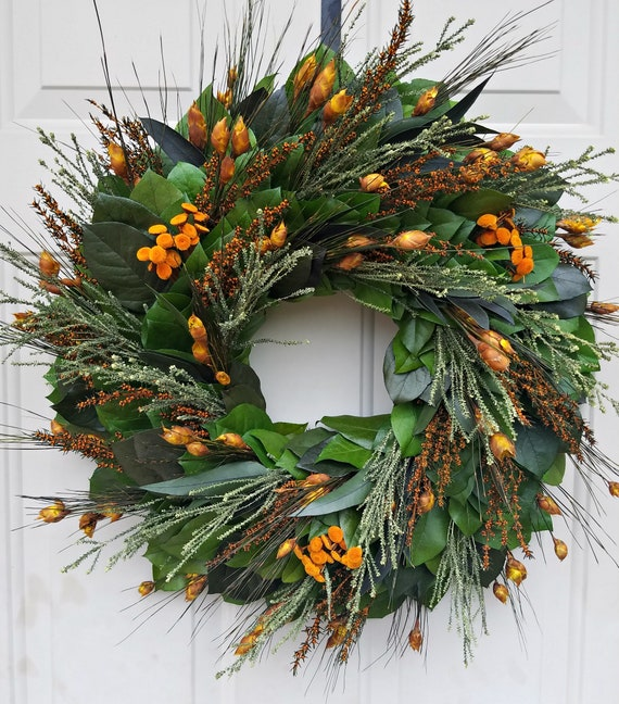 Reserved   30 inch preserved fall wreath, autumn wreath, leaf wreath, orange wreath, hydrangea wreath, foliage wreath, gift wreath