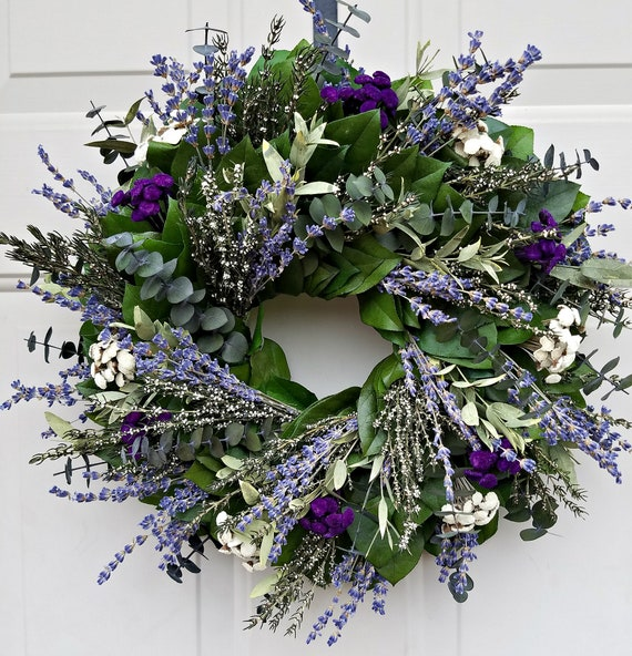 Purple lavender wreath is made with preserved eucalyptus and preserved leaves