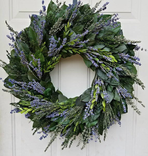 Large lavender wreath, fall wreath, autumn wreath, custom wreath, dried lavender wreath, leaf wreath, preserved wreath, fragrant wreath