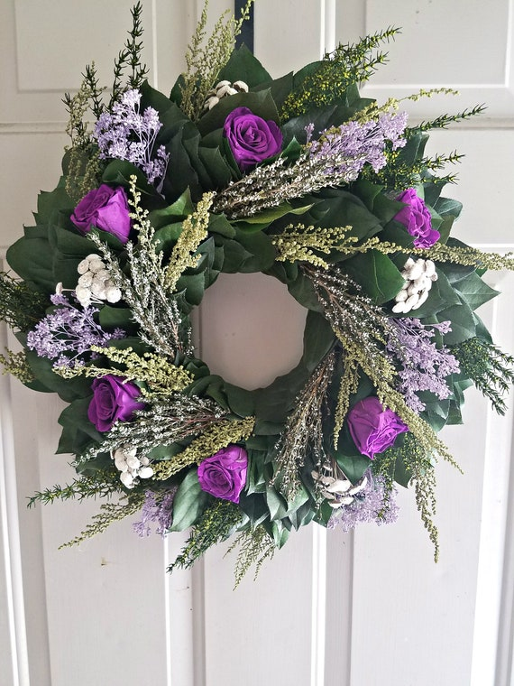 Preserved foliage wreath with violet preserved roses
