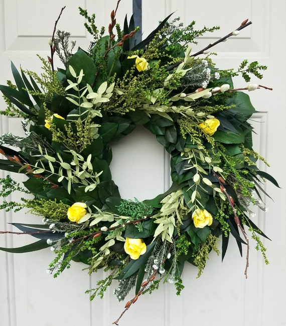 20 inch preserved eucalyptus wreath, yellow rose wreath, rose wreath, eucalyptus wreath, leaf wreath, preserved wreath, dried wreath