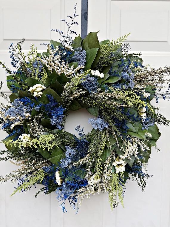 23 inch blue wreath, preserved wreath, leaf wreath, handmade wreath, foliage wreath, gift wreath, natural wreath
