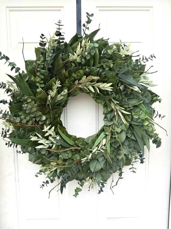 24 inch wreath, eucalyptus wreath, farmhouse wreath, natural wreath, dried wreath, foliage wreath, leaf wreath, preserved wreath