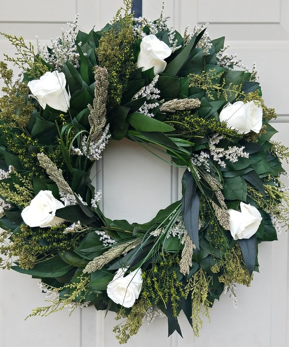 Preserved rose wreath, white rose  wreath, leaf wreath, preserved wreath, dried wreath, foliage  wreath