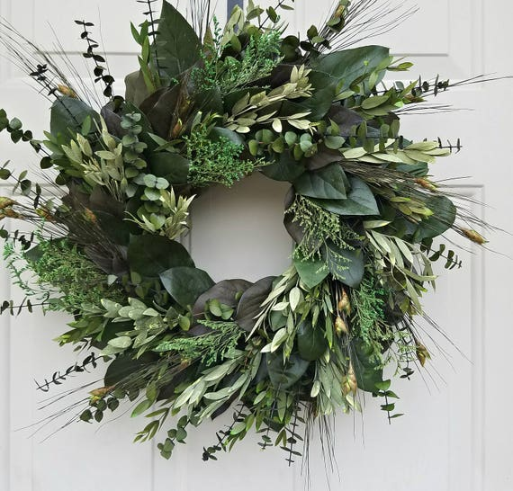 "Preserved wreath, 16 "" wreath, eucalyptus wreath, leaf wreath, foliage wreath, decorative wreath, natural wreath"