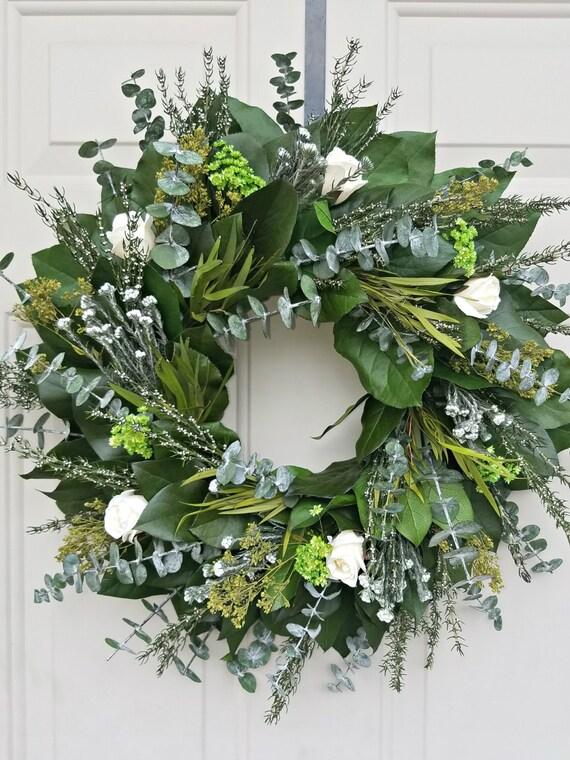 "Preserved lemon leaf wreath, 20"" wreath, leaf wreath, cream roses wreath, natural wreath decorative wreath, lemon leaf wreath"