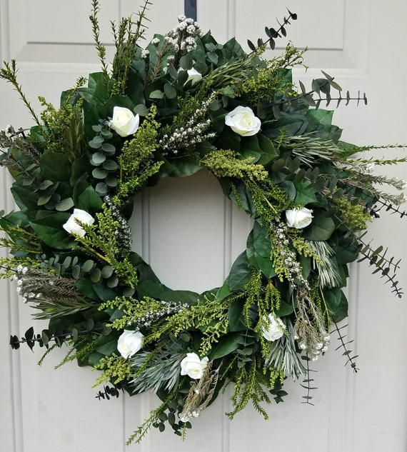 24 inch preserved eucalyptus wreath, white rose  wreath, leaf wreath, preserved wreath, dried wreath, foliage  wreath