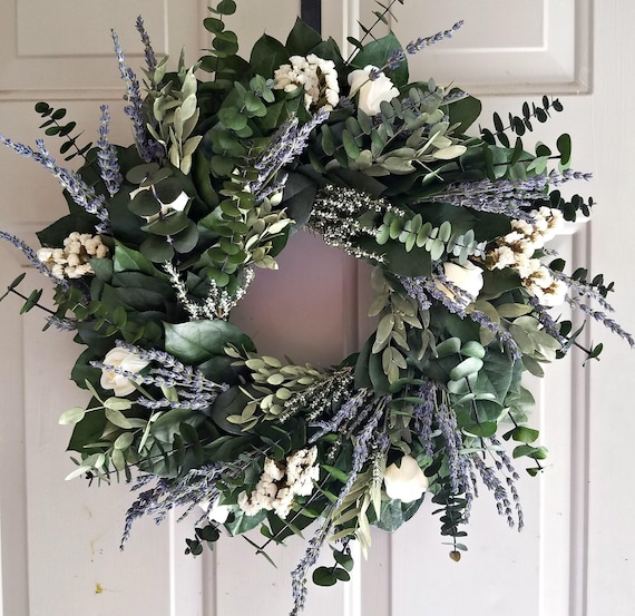 Lavender wreath made with preserved eucalyptus and lemon leaf leaves perfect for weddings or as a beautiful gift