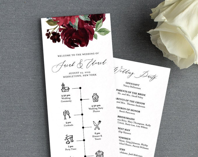 Wedding Program & Timeline Template, Printable Order of Service, Wedding Day Events / Agenda, Instant Download, 100% Editable Text 062-216WP