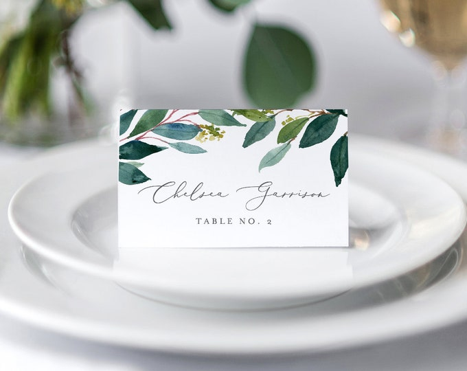 Wedding Place Card Template, INSTANT DOWNLOAD, Printable Escort Card, Name Card, Boho Greenery Seating Card, 100% Editable, DIY #044-114PC