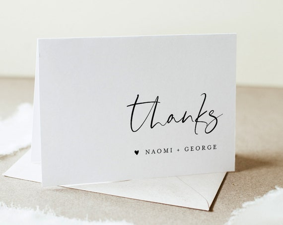 Modern Thank You Folded Card Printable, Minimalist Wedding / Bridal Shower Note, Editable Template, INSTANT DOWNLOAD, Templett #096-146TYC