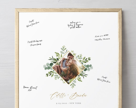 Guestbook Alternative Poster, Greenery Wedding Photo Guest Book Sign, Editable Template, Instant Download, Printable, Templett #082-102GA