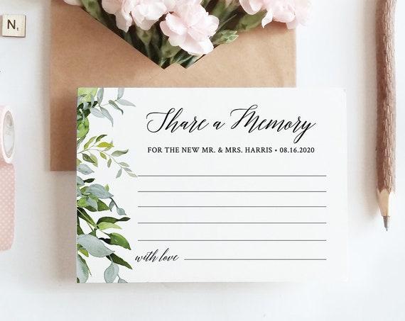 INSTANT DOWNLOAD, Share a Memory Printable, Wedding Keepsake, Editable Template, Greenery Wedding, Funeral Acknowledgement Card #016-110EC