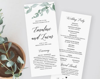 Greenery Wedding Program Template, Printable Order of Service, Ceremony Program, Instant Download, 100% Editable, Templett #019-208WP