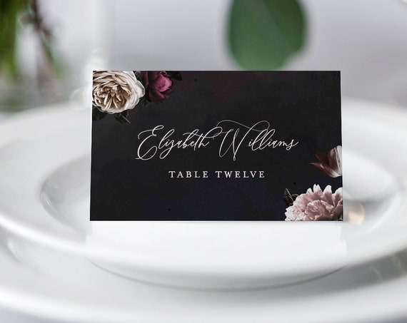 Vintage Floral Place Card Template, Printable Wedding Escort Card, 100% Editable Text, Moody Floral, INSTANT DOWNLOAD, Tent & Flat 009-132PC