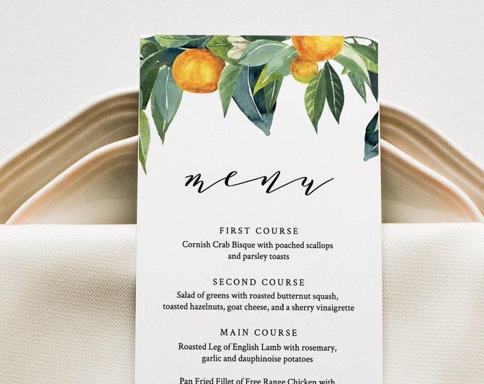 Citrus Menu Template, Wedding Menu Card, Orange Blossom, Lemon, Printable DIY Menu, INSTANT DOWNLOAD, Editable Text, 5x7 & 3.65x9 #084-140WM