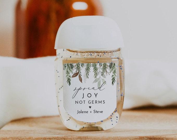 Pine Hand Sanitizer Label Template, Covid Wedding Favor, Winter Bridal Shower, Editable, Instant Download, Templett #0017-113HS