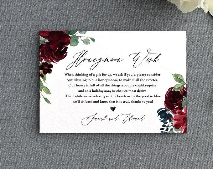 Honeymoon Wish Card, Editable Template, Wedding Gift Fund Request Insert, Boho Flora Honeymoon Wish, INSTANT DOWNLOAD, Templett #062-124EC