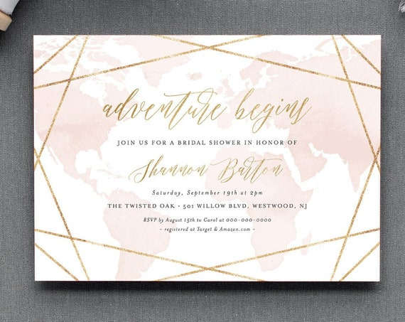Bridal Shower Invitation, Adventure Begins, Destination Wedding Shower Invite, World Map, Geometric, Editable Template, Printable #185BS
