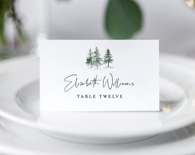 Pine Place Card Template, Printable Rustic Winter Wedding Escort Card, Name Card, Evergreen, 100% Editable Text, INSTANT DOWNLOAD #073-128PC