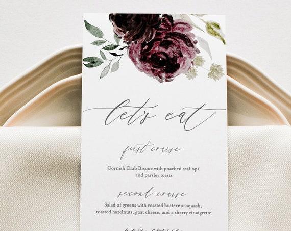 Menu Template, Moody Floral Wedding Menu, Purple Floral Dinner Menu, Printable DIY Menu, INSTANT DOWNLOAD, Editable Text, 2 Sizes #074-134WM