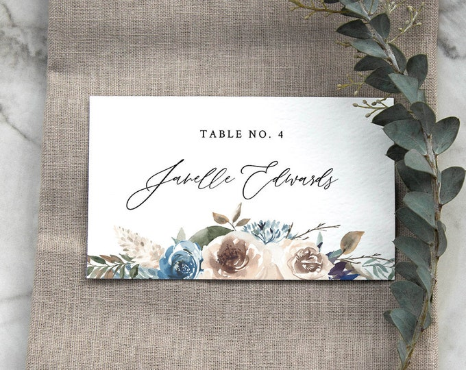 Rustic Floral Place Card Template, Printable Blue & Cream Wedding Escort / Seating Card, Name Card, INSTANT DOWNLOAD, Editable #077-137PC