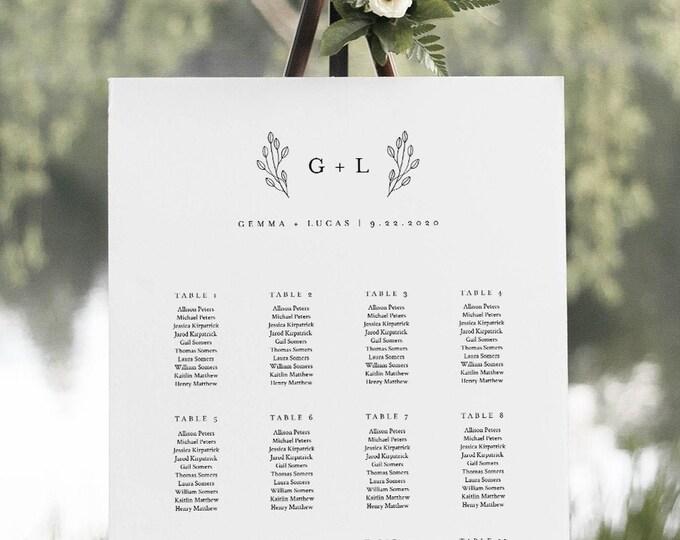 Monogram Seating Chart Poster, Minimalist Modern Wedding Seating Sign, Instant Download, Editable Template, Templett, US & UK #095-261SC