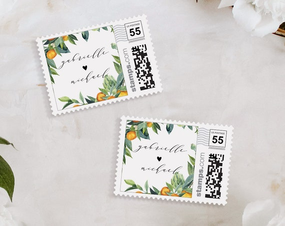 Citrus Postage Stamp Template, Custom Orange Wedding Stamp, Photostamps.com, Instant Download, 100% Editable Text, Templett #084-109PS