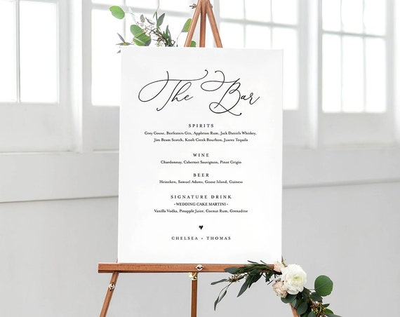Wedding Bar Menu Template, INSTANT DOWNLOAD, 100% Editable, Printable Signature Drinks Menu, Simple and Modern, 8x10 & 16x20 #CHM-02