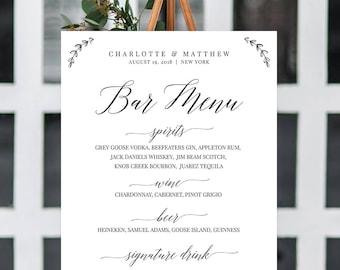 Wedding Bar Menu Sign, Calligraphy Dinner Menu Poster, Buffet Menu Printable, 100% Editable Template, Instant Download, Templett #034-105LS