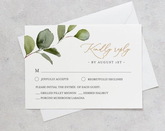 Greenery RSVP Card Template, INSTANT DOWNLOAD, 100% Editable Text, Printable Boho Gold Wedding Response Postcard, DiY, Self-Editing #056RSVP