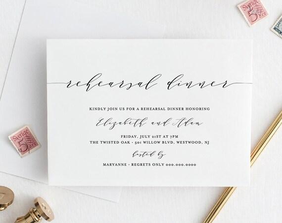 Rehearsal Dinner Invitation, Simple, Modern, INSTANT DOWNLOAD, Wedding Rehearsal Invite Template, Printable, 100% Editable, DIY #037-119RD