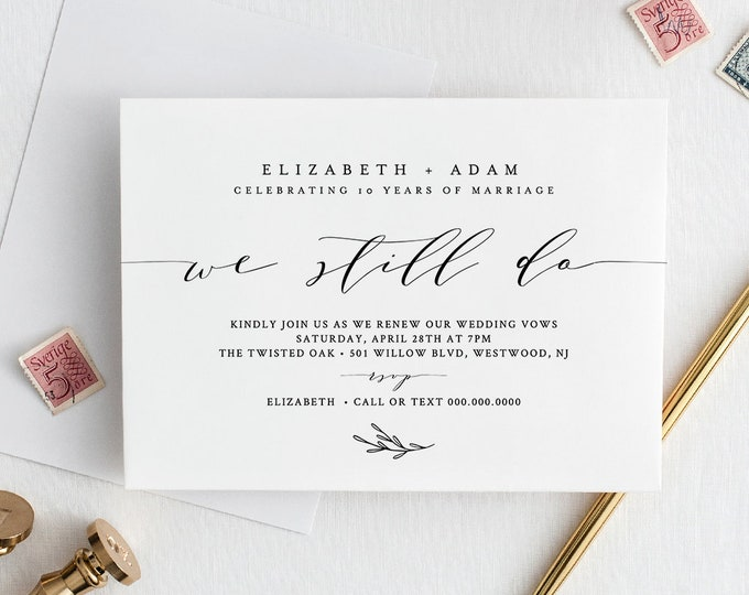 Vow Renewal Invitation Template, Printable Anniversary Invite, INSTANT DOWNLOAD, 100% Editable, Simple, Modern, Calligraphy, DIY #037-111VR
