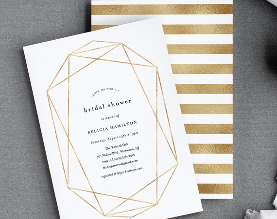 Bridal Shower Invitation Template, Geometric Foil Gold, Elegant, Editable Couples / Wedding Shower Invite, Printable, INSTANT DOWNLOAD 166BS