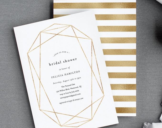 Bridal Shower Invitation Template, Geometric Foil Gold, Elegant, Editable Couples / Wedding Shower Invite, Printable, INSTANT DOWNLOAD 166BS