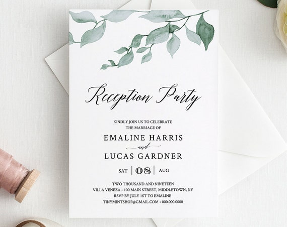 Reception Party Invitation, Greenery Wedding Invite, Watercolor Leaves, 100% Editable Template, INSTANT DOWNLOAD, Printable #019-105WR