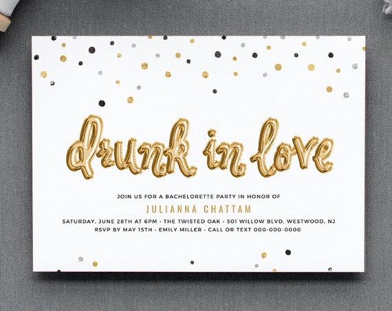 Bachelorette Party Invitation Template, Printable Hen's Party, Hen Do Invite, Editable Text, Drunk In Love, INSTANT DOWNLOAD #028-122BP