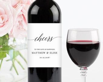 Minimalist Wine Bottle Label Template, Cheers, DIY Wedding Wine Favor, Editable, Custom Wine Label, Instant Download, Templett #034-101WL
