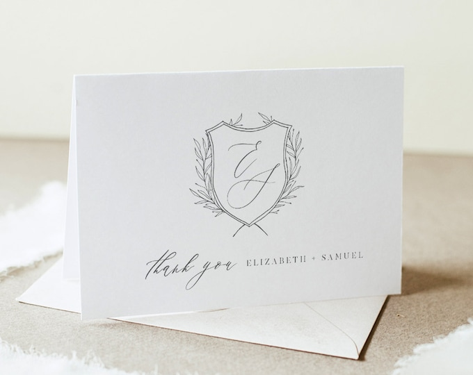 Minimalist Thank You Folded Card Printable, Wedding Crest, Monogram Note Card, Editable Template, INSTANT DOWNLOAD, Templett #0007-165TYC