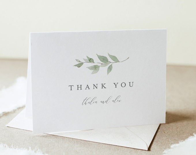 Delicate Greenery Thank You Card, Monogram Wedding / Bridal Shower, Editable Template, Instant Download, Flat & Tent, Templett #0004B-160TYC